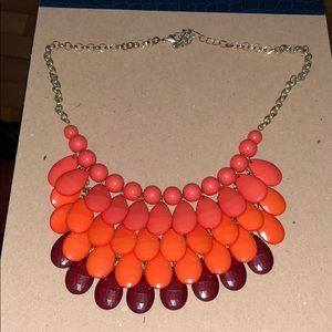 Coral, orange, and burgundy statement necklace